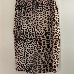 Skirts - Belted Leopard faux-Wrap Skirt